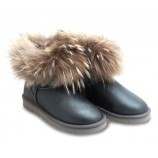 UGG Fox Fur Mini Metallic Grey.